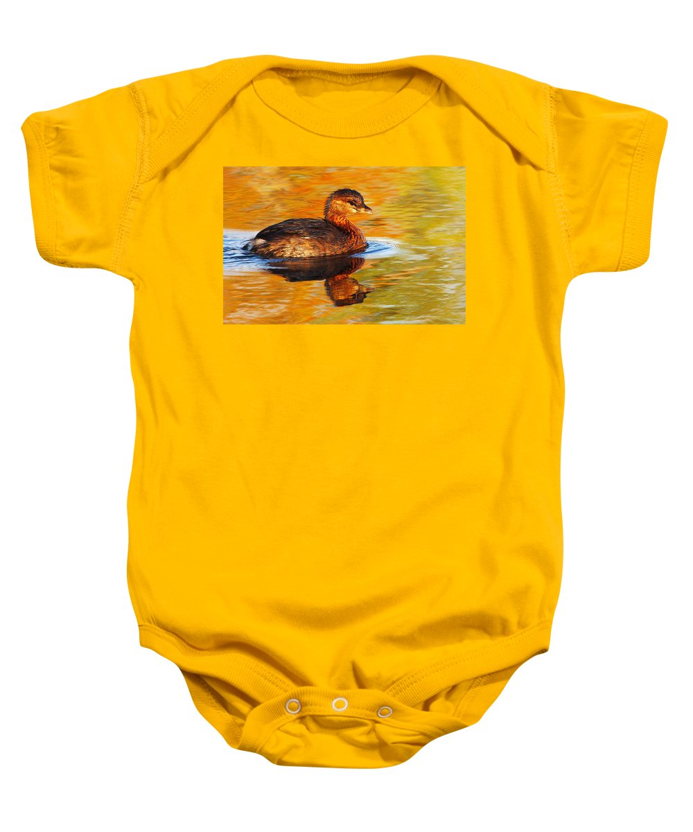 Pied-billed Grebe Baby Onesie featuring the photograph Monet Grebe by Andrew McInnes