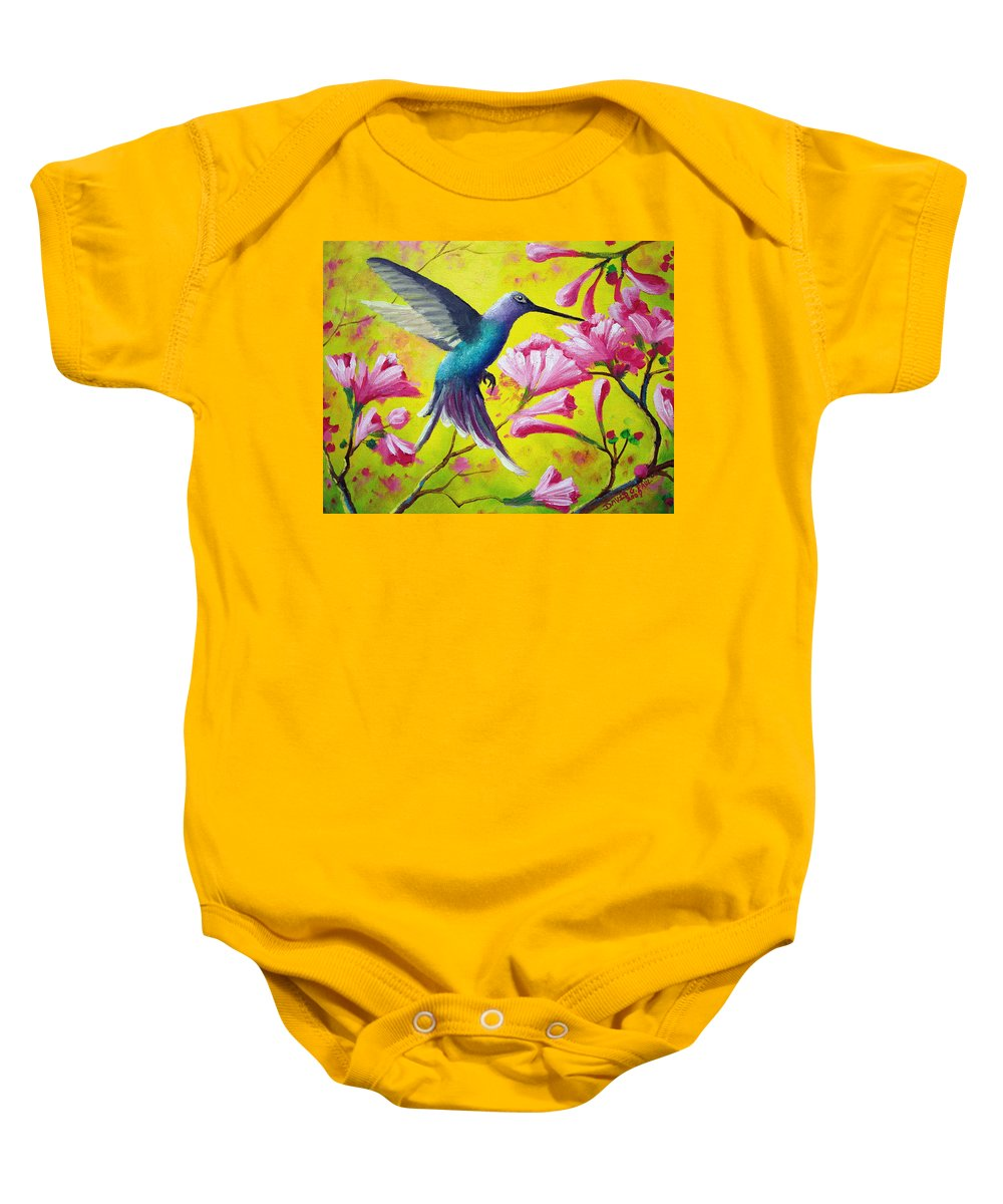 Hummingbird Baby Onesie featuring the painting Morning Sweets by David G Paul