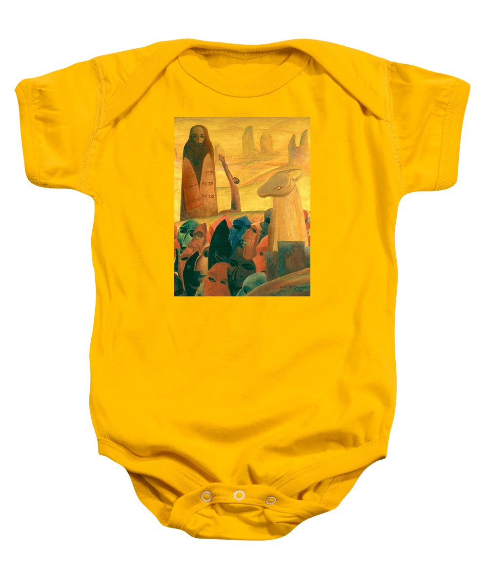 Moses And The Masks Baby Onesie featuring the painting Moses And The Masks by Israel Tsvaygenbaum