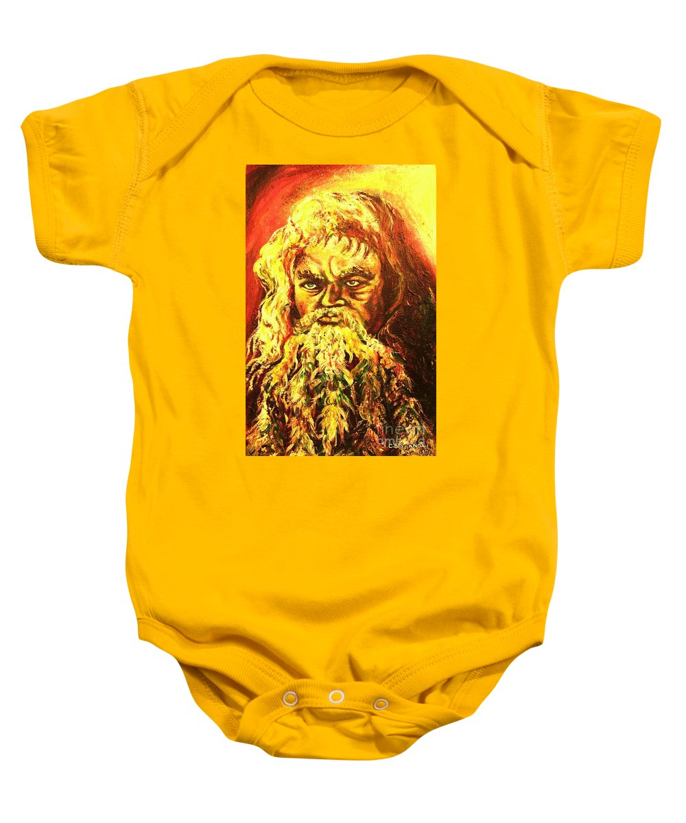 Moses Baby Onesie featuring the painting Moses At The Burning Bush by Carole Spandau