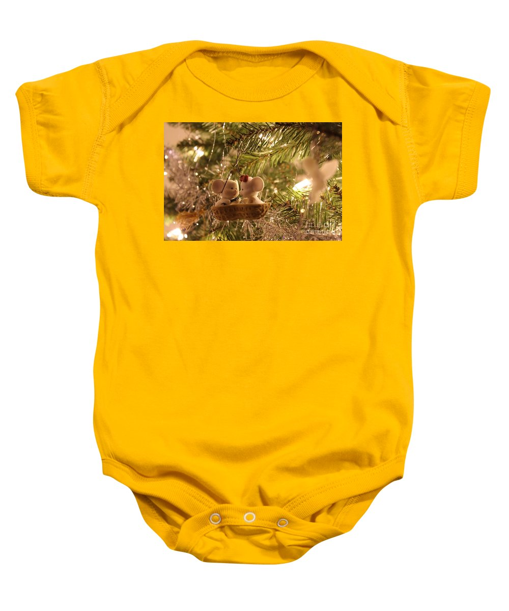 Christmas Baby Onesie featuring the photograph Mousie Love In A Tree by Janice Byer