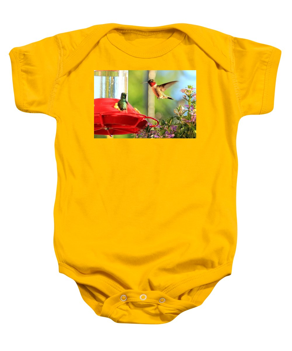 Birds Baby Onesie featuring the photograph Move Over by Reid Callaway