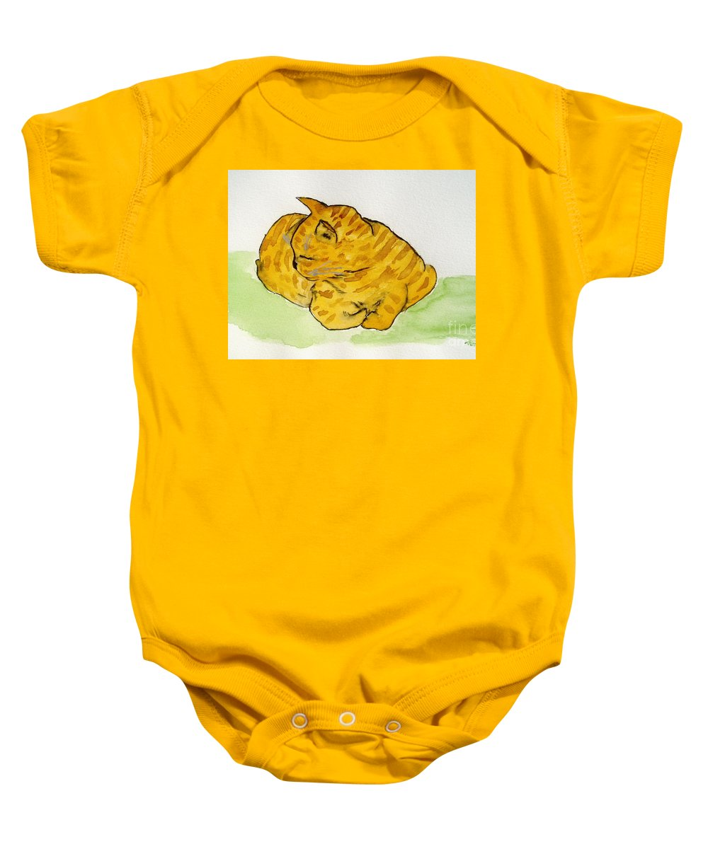 Cat Painting Baby Onesie featuring the painting Mr. Yellow by Reina Resto