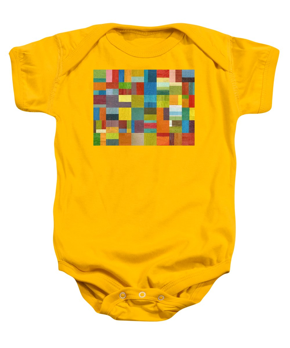 Abstract Baby Onesie featuring the painting Multiple Exposures lll by Michelle Calkins
