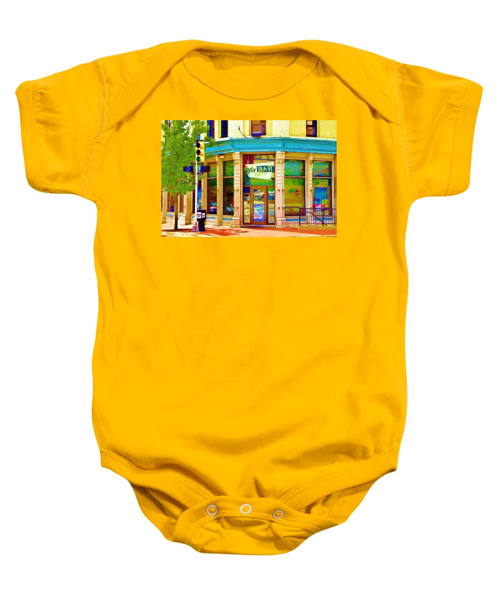 Art Baby Onesie featuring the photograph My Bar And Grill 2 by Randall Nyhof