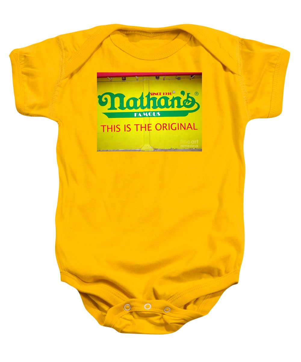 Hot Dogs Baby Onesie featuring the photograph Nathan's Famous by Ed Weidman