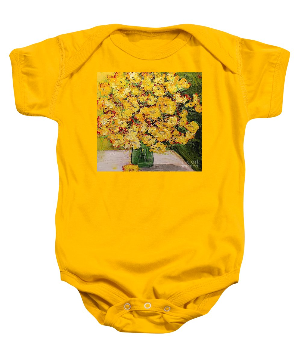 Landscape Baby Onesie featuring the painting New Beginnings by Allan P Friedlander