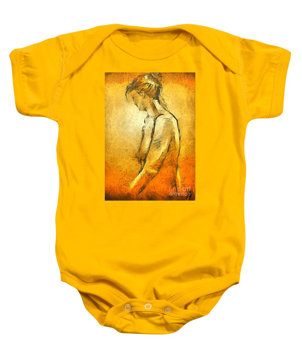 Nude Baby Onesie featuring the painting Nude Viii by Dragica Micki Fortuna