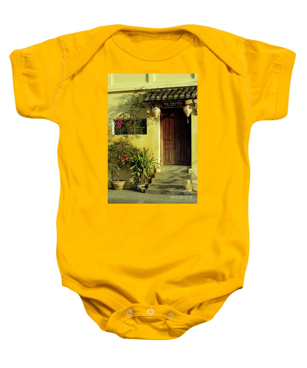 Vietnam Baby Onesie featuring the photograph Ochre Wall 01 by Rick Piper Photography