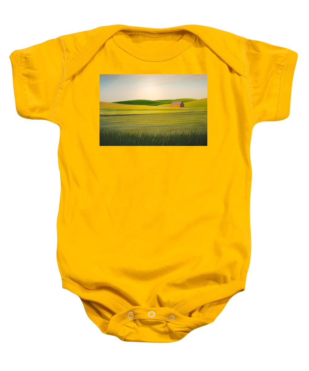 Wheat Baby Onesie featuring the painting Old Highway 95 by Leonard Heid