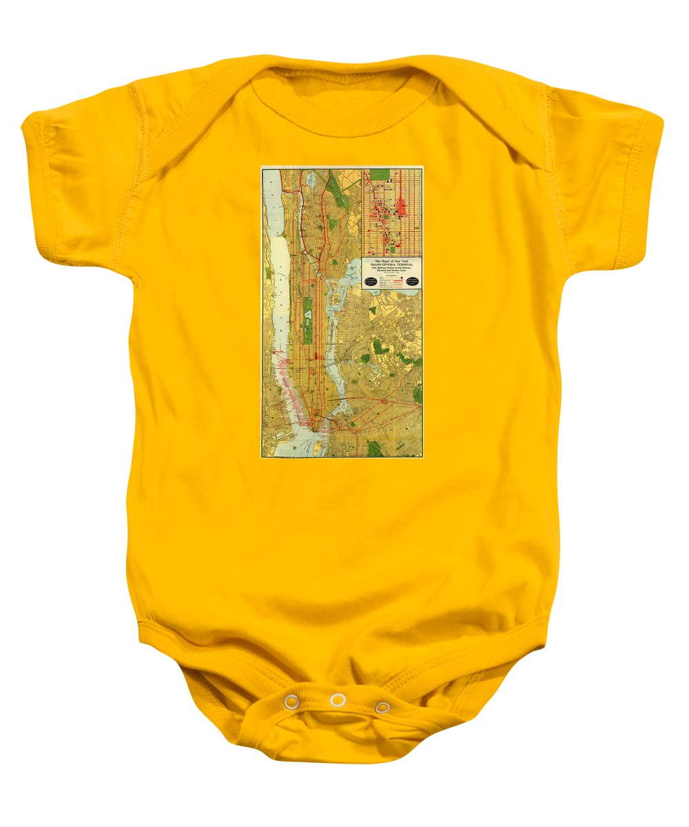 Map Baby Onesie featuring the drawing Old Map Of New York Central Railroad Manhattan Map 1918 by Mountain Dreams