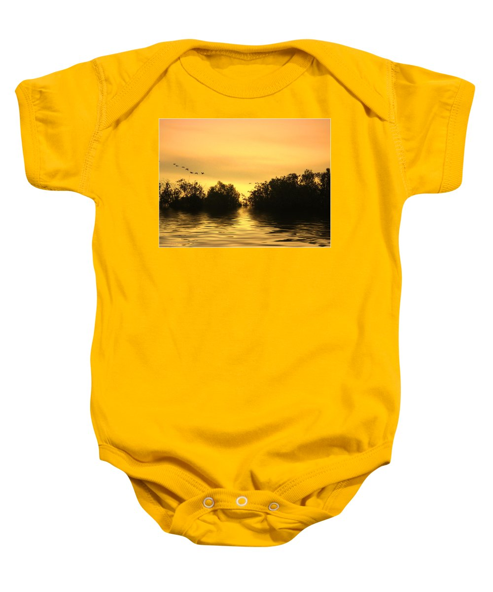 Sunset Baby Onesie featuring the photograph On Golden Pond by Joyce Dickens