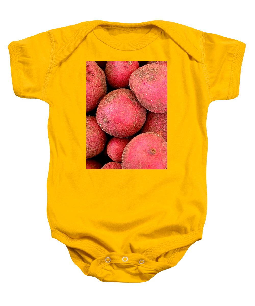 Red Potato Baby Onesie featuring the photograph One Potato Two Potato by Cynthia Wallentine