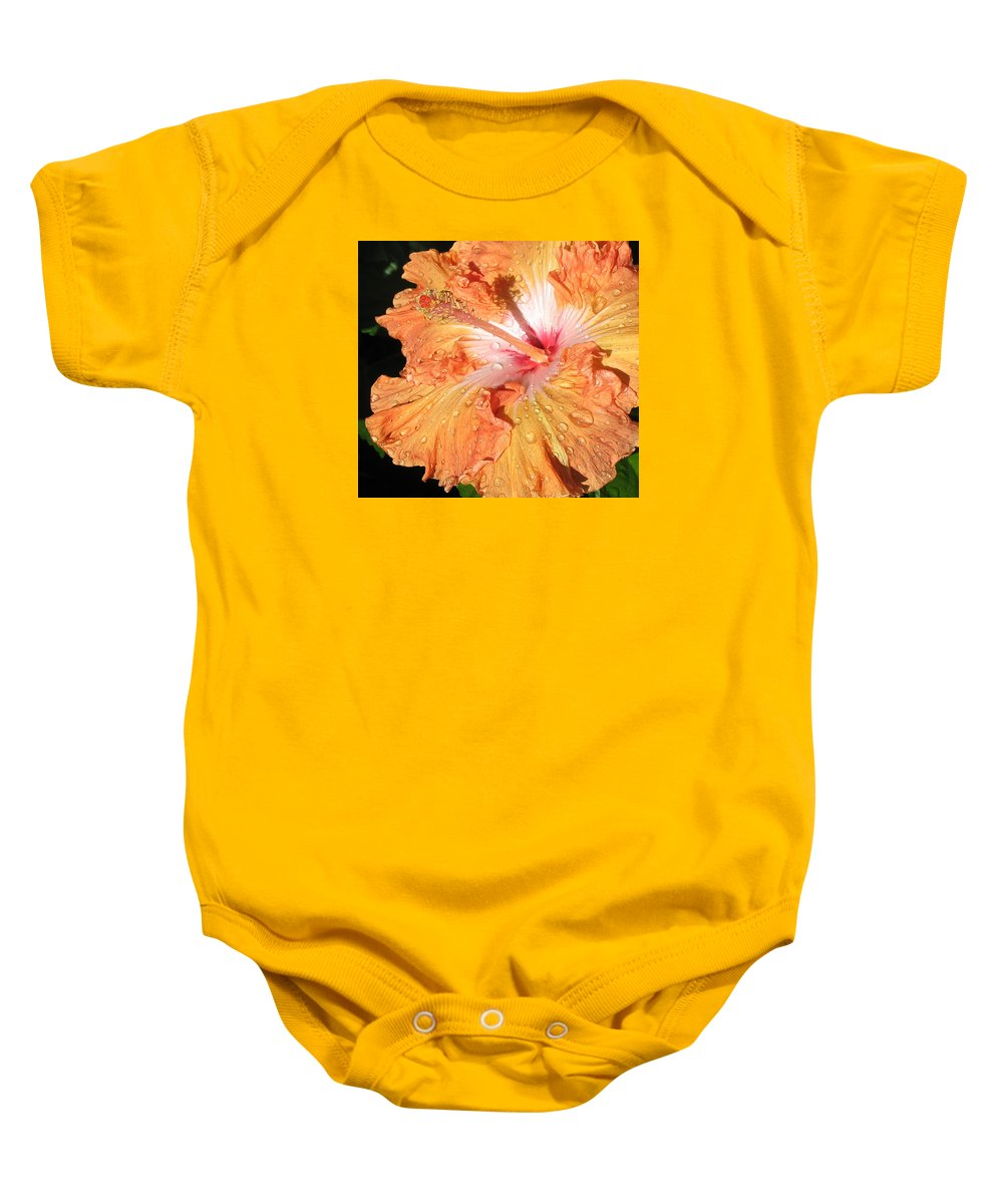 Orange Hibiscus Baby Onesie featuring the photograph Orange Hibiscus After The Rain by Connie Fox