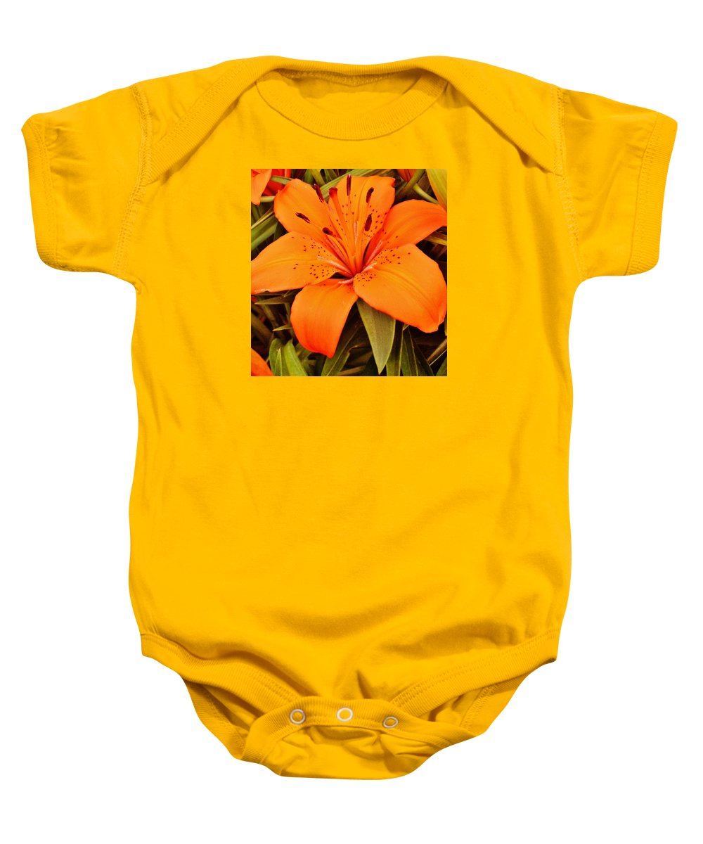 Flower Baby Onesie featuring the photograph Orange Lily by VLee Watson