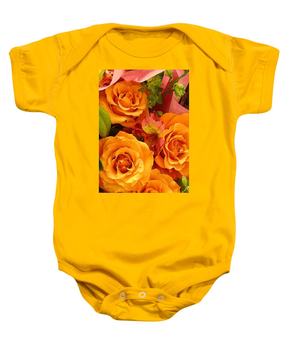 Roses Baby Onesie featuring the painting Orange Roses by Amy Vangsgard