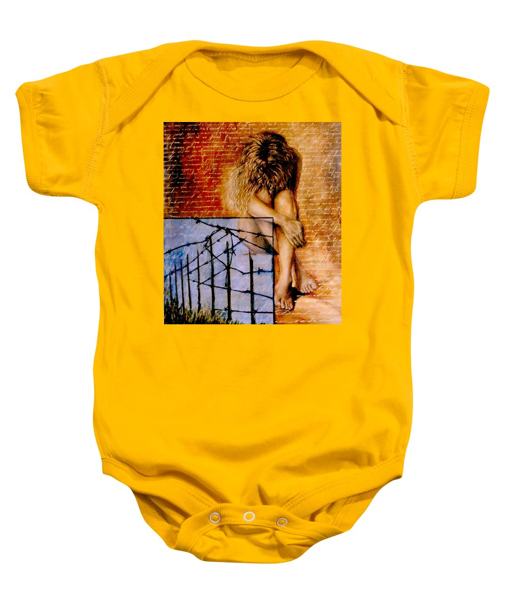 Nude Baby Onesie featuring the painting Palabra Cercada by Nancy Almazan