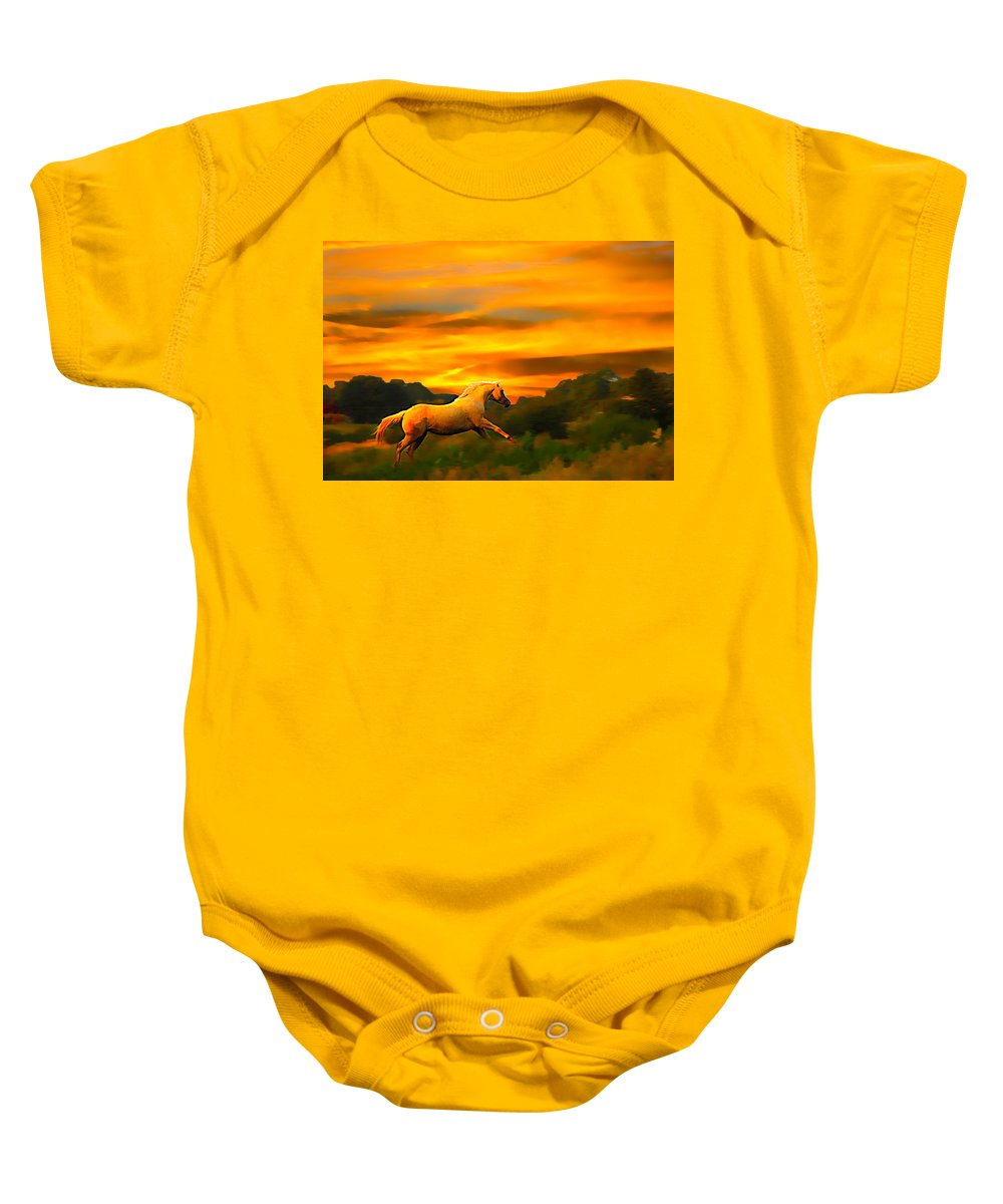 Palomino Running Baby Onesie featuring the photograph Palomino Pal At Sundown by Randall Branham
