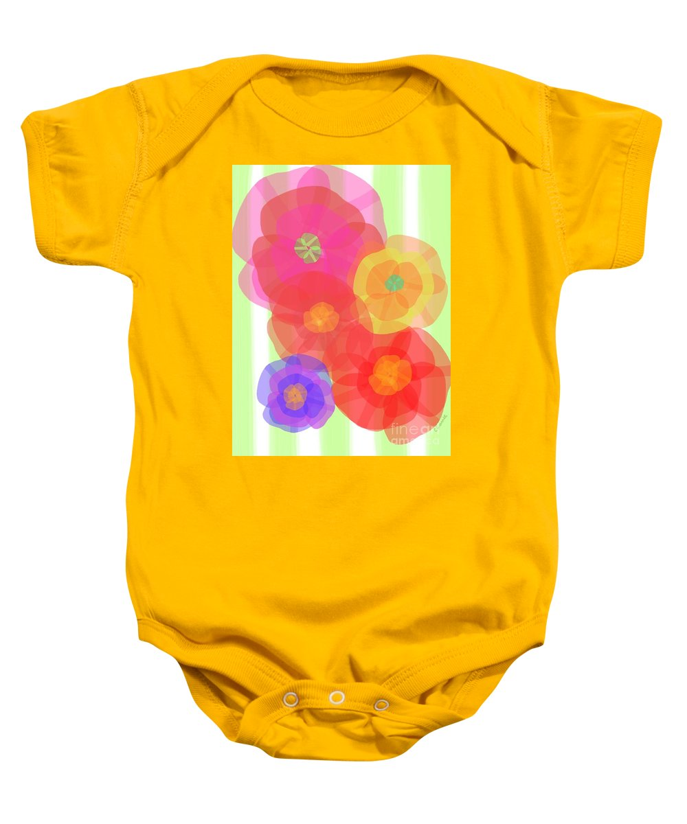Abstract Baby Onesie featuring the digital art Paper Flowers by Christine Fournier