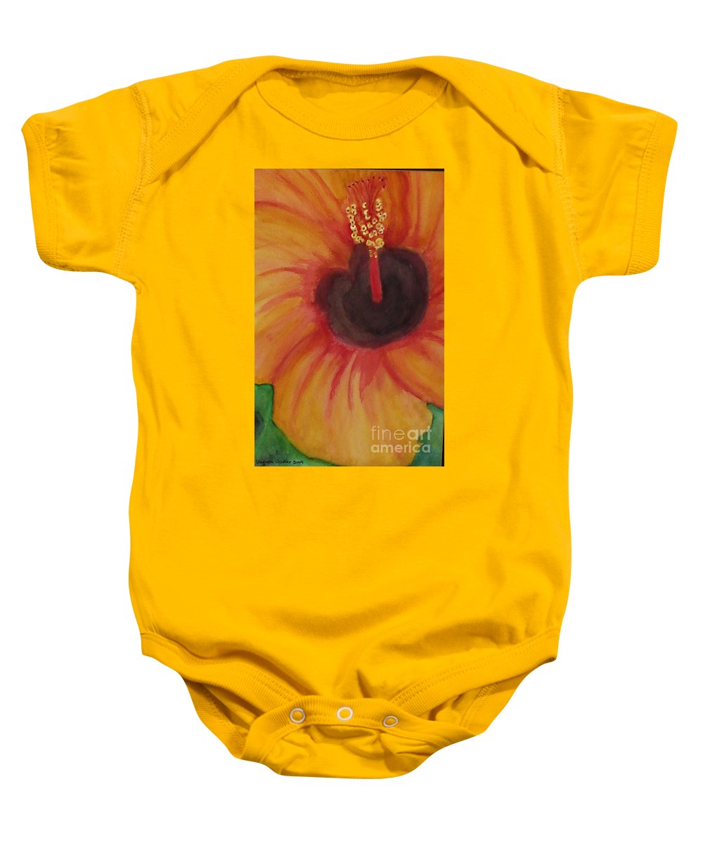Water Color Flower Baby Onesie featuring the painting Passion Flower by Yael VanGruber
