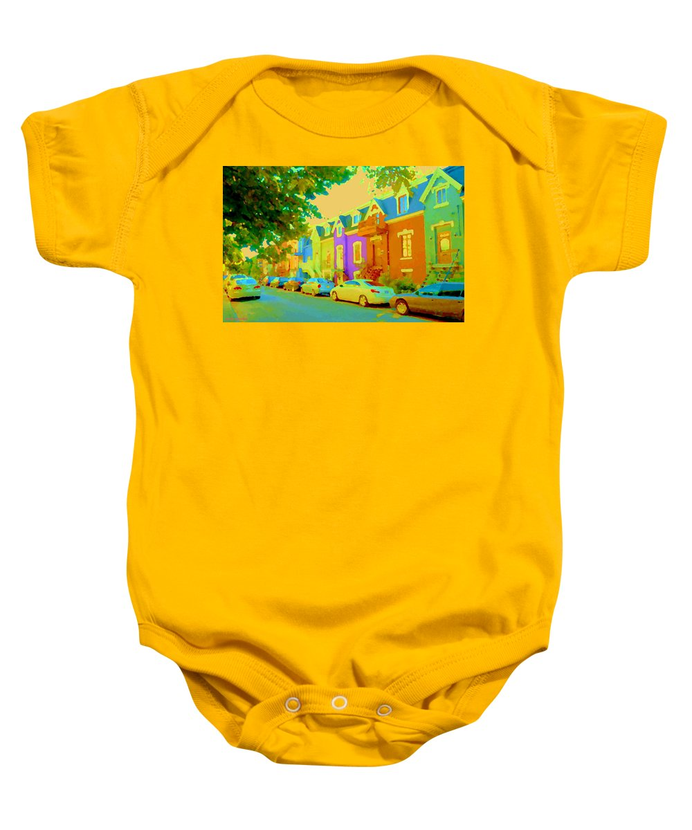 Montreal Baby Onesie featuring the painting Peaceful Painted Pastel Rowhouses Printemps Plateau Montreal Scene Du Rue Carole Spandau by Carole Spandau