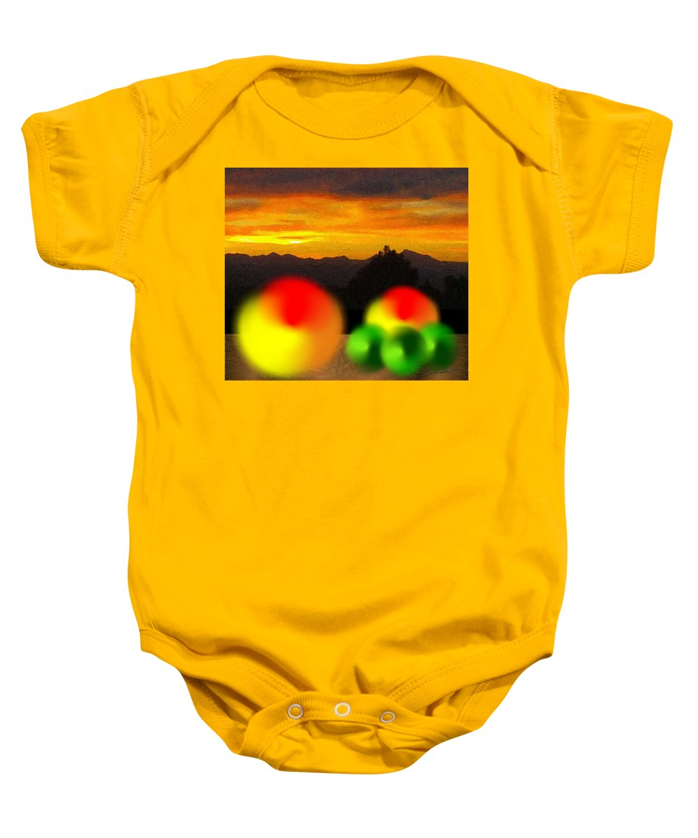 Peach Baby Onesie featuring the digital art Peaches And Limes On A Colorado Mountain Top by Michael Hurwitz
