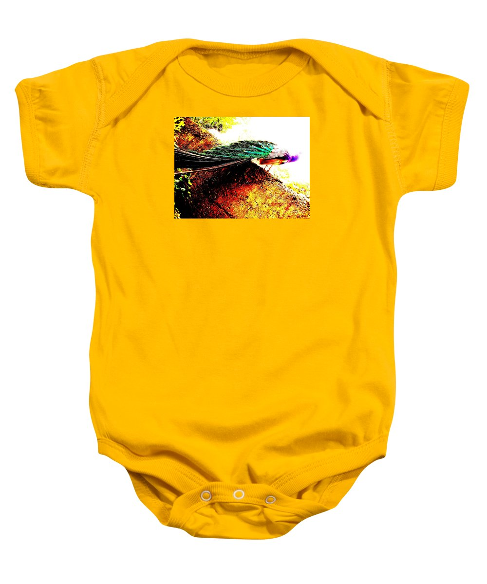 Bird Baby Onesie featuring the photograph Peacock Tail by Vanessa Palomino