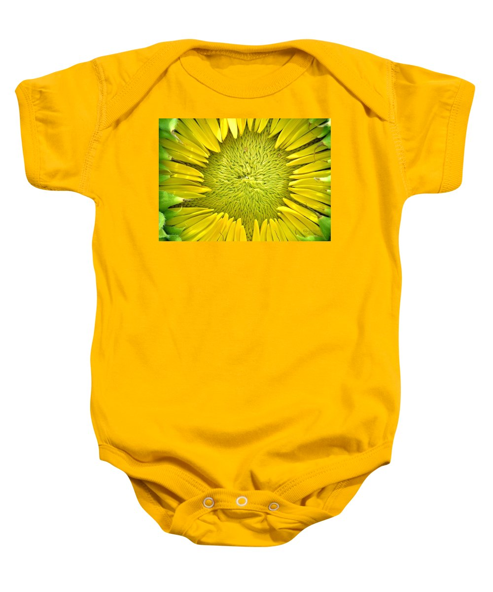 Sunflower Baby Onesie featuring the photograph Peaking Out #2 by Robert ONeil