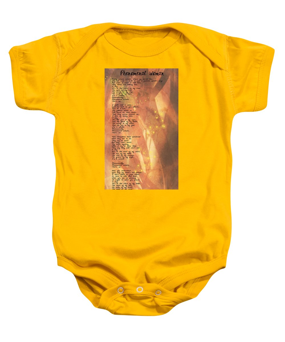 Wright Baby Onesie featuring the digital art Phenomenal Woman by Paulette B Wright