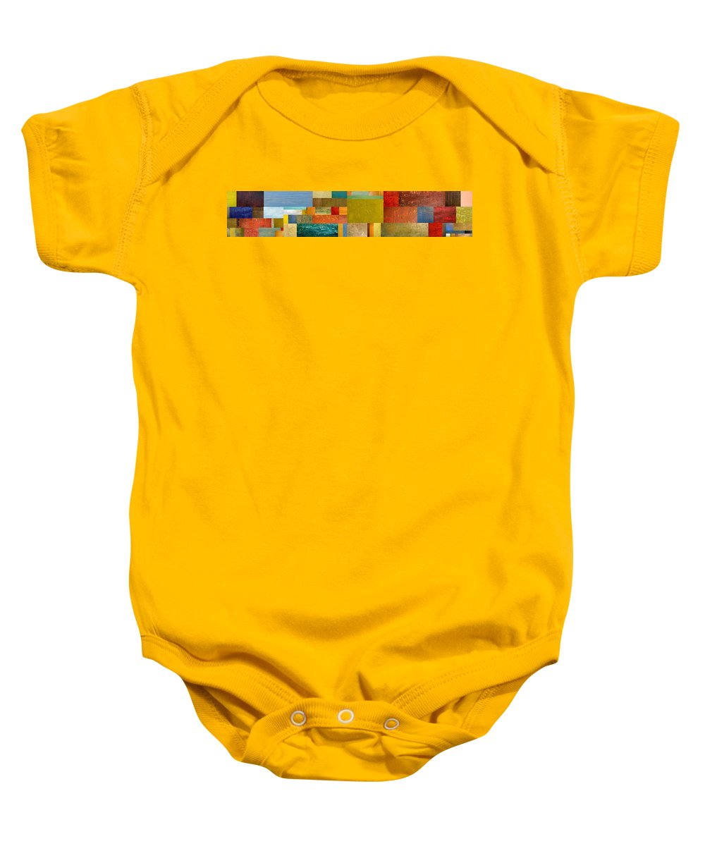 Skinny Baby Onesie featuring the painting Pieces Project Lv by Michelle Calkins