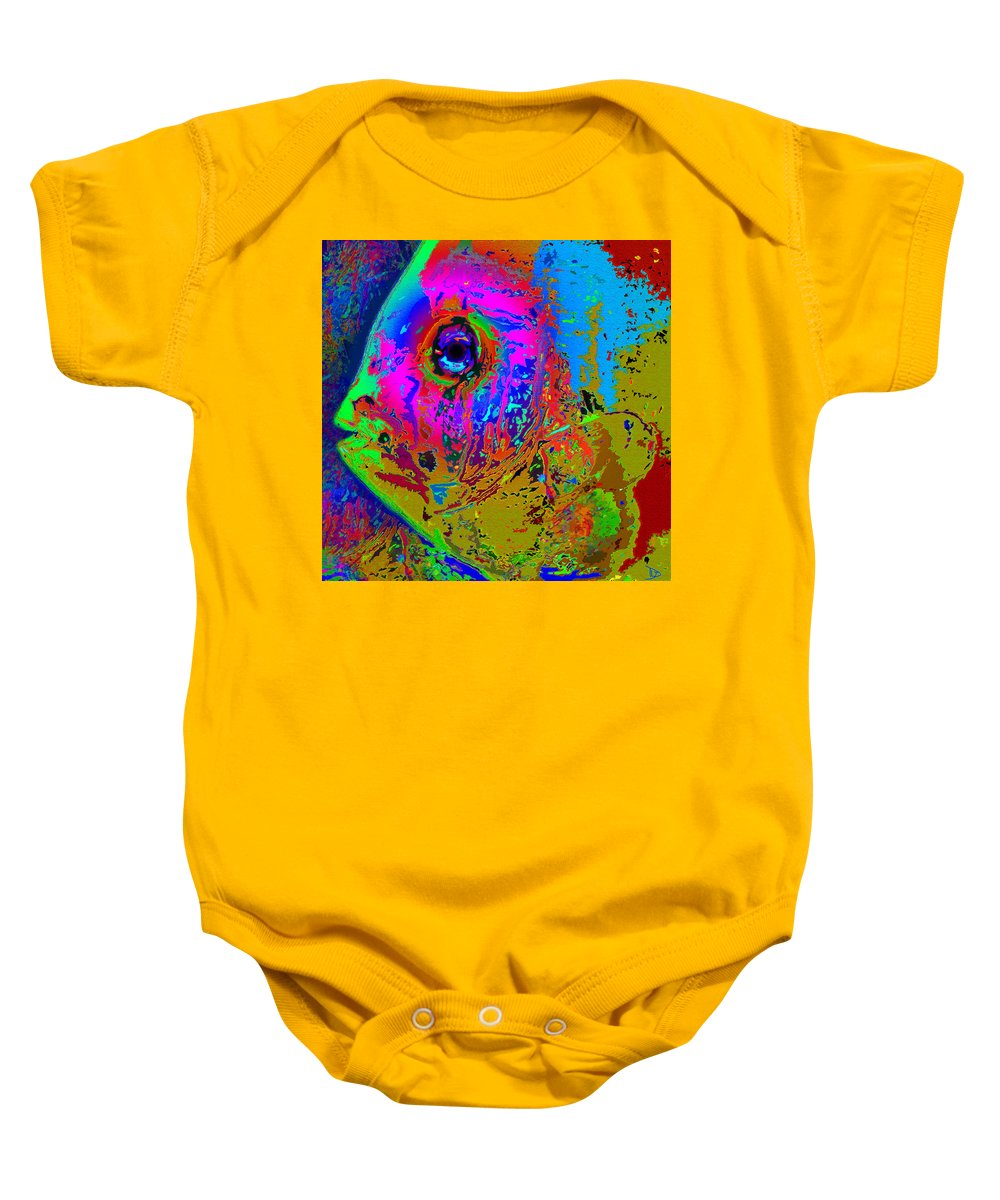 Pink Baby Onesie featuring the painting Pink Eye by David Lee Thompson