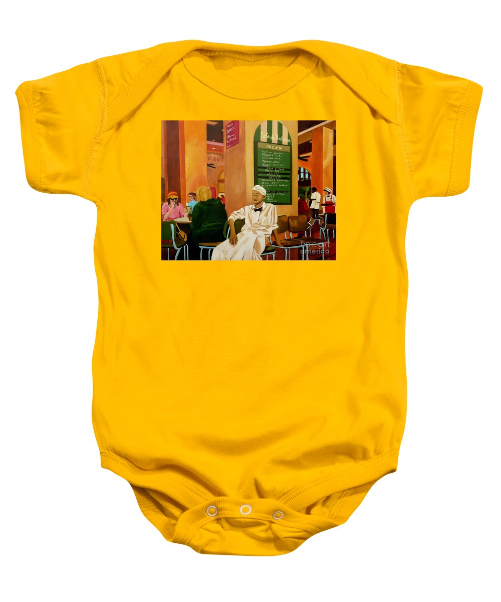 Cafe Baby Onesie featuring the painting Please Be Seated by Anthony Dunphy