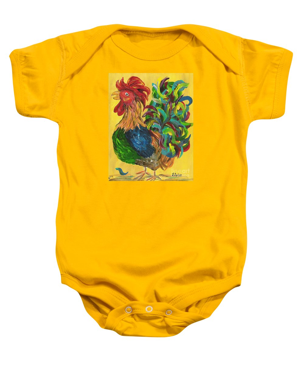 Rooster Baby Onesie featuring the painting Plucky Rooster by Eloise Schneider Mote
