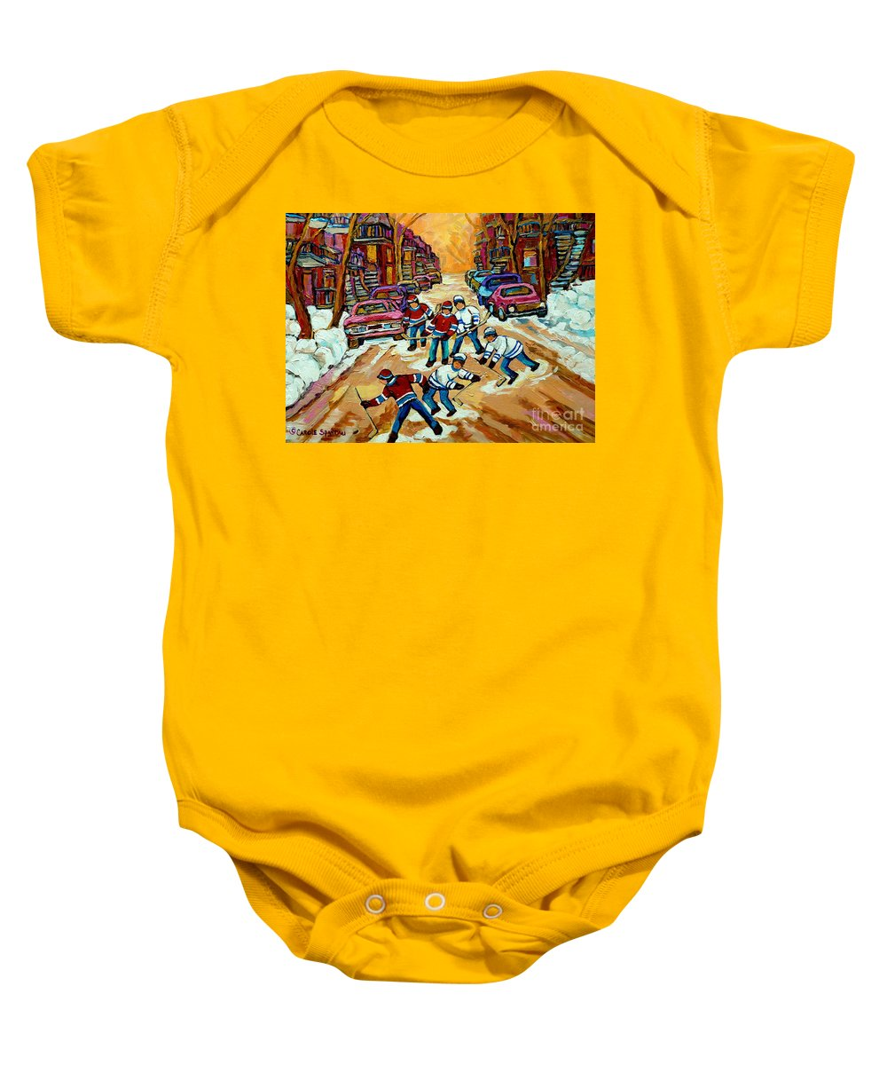 Montreal Baby Onesie featuring the painting Pointe St.charles Hockey Game Winter Street Scenes Paintings by Carole Spandau