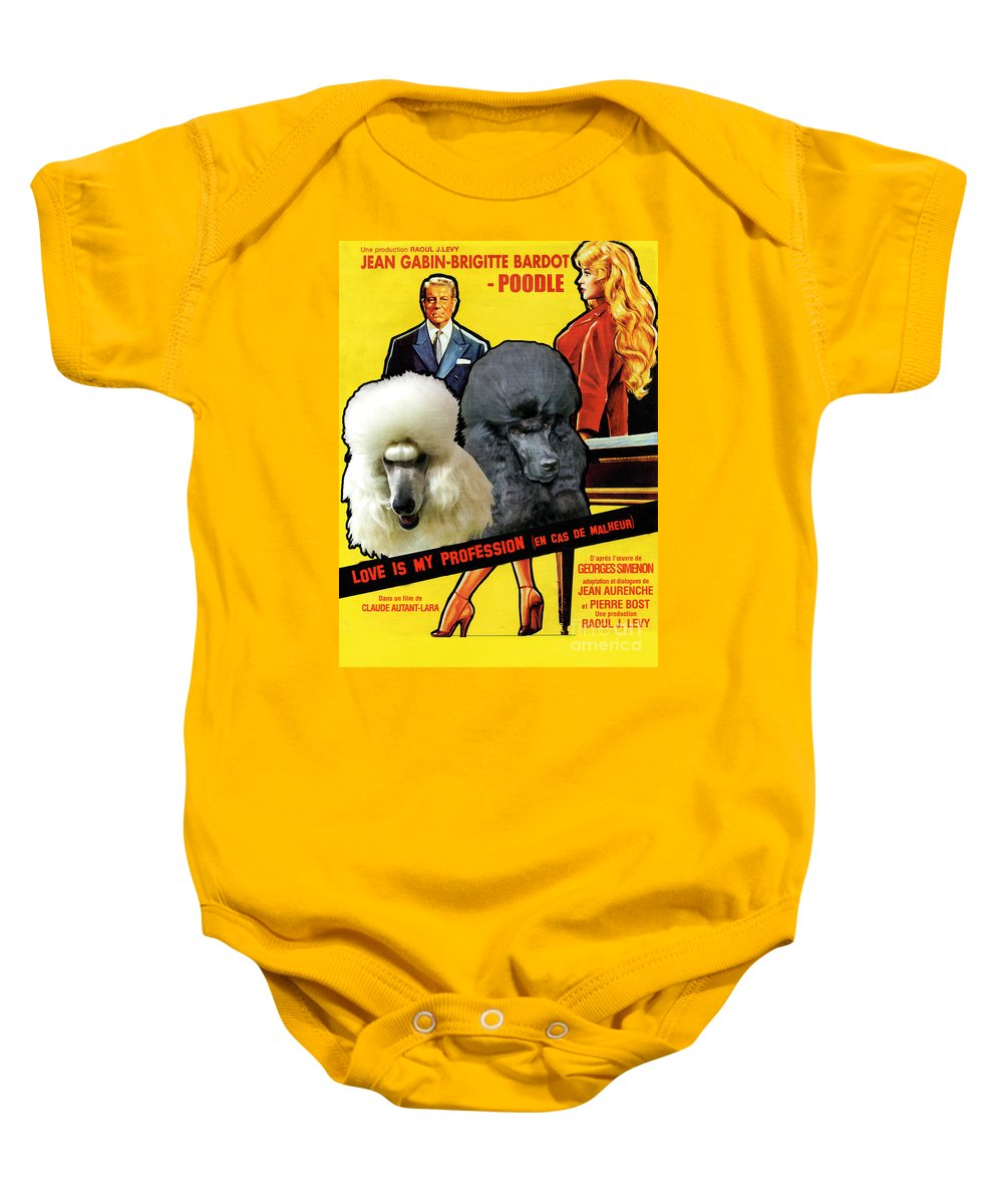 Dog Baby Onesie featuring the painting Poodle Standard Art - Love Is My Profession Movie Poster by Sandra Sij