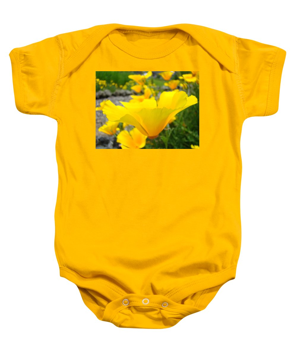 Poppy Baby Onesie featuring the photograph Poppies Flowers Meadow Art Prints Orange by Baslee Troutman