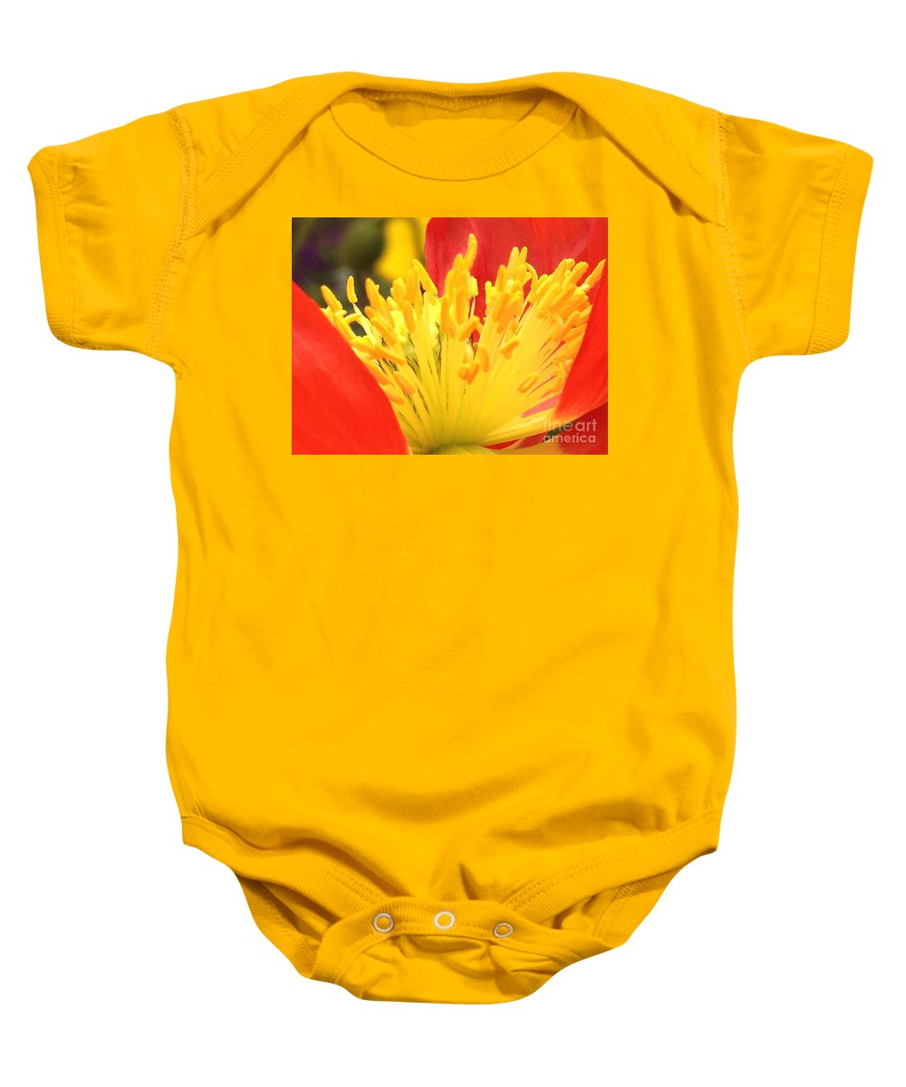 Red Baby Onesie featuring the photograph Poppy 3 by Jacklyn Duryea Fraizer
