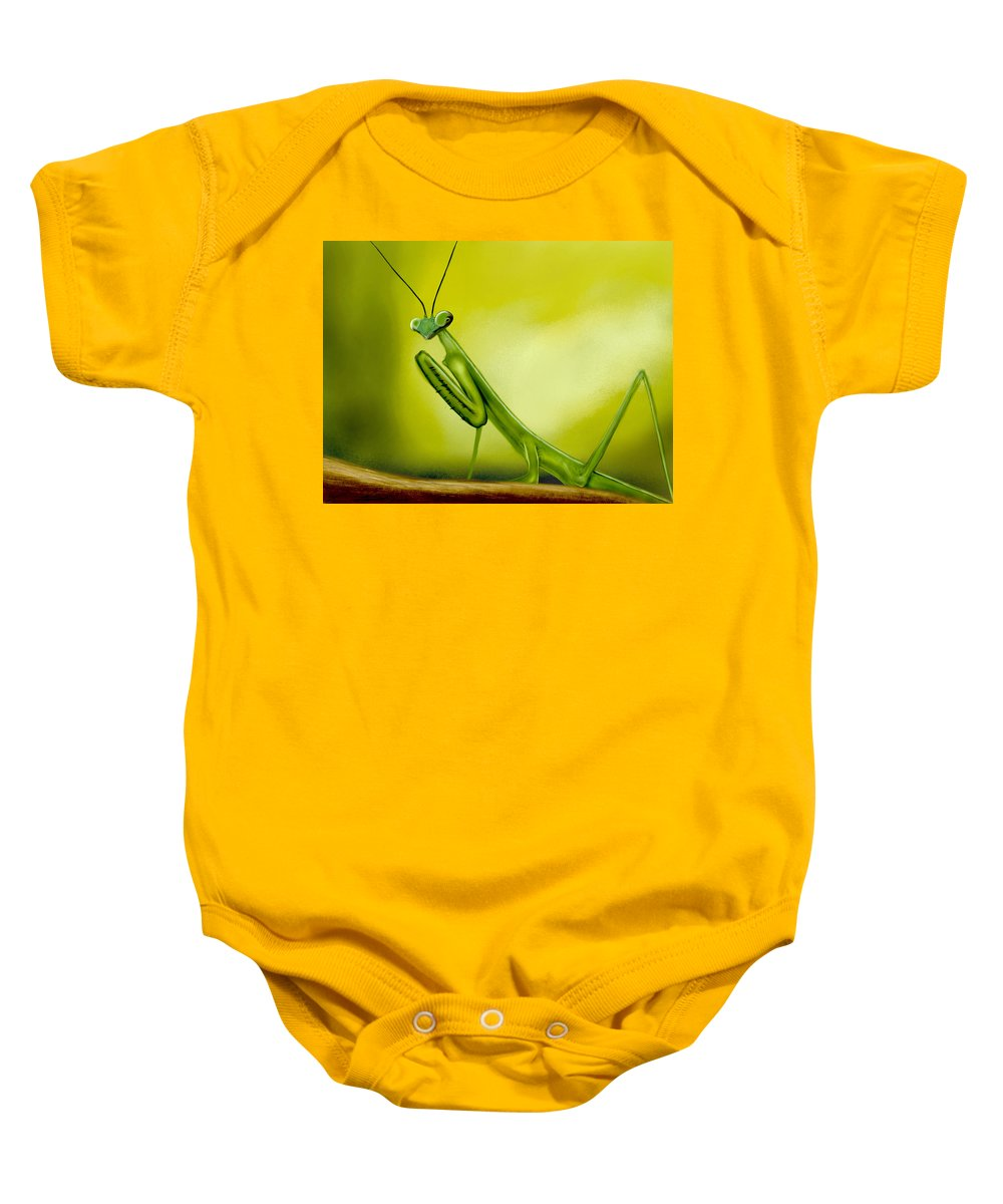 Mathieu Lalonde Baby Onesie featuring the digital art Praying Mantis by Mathieu Lalonde