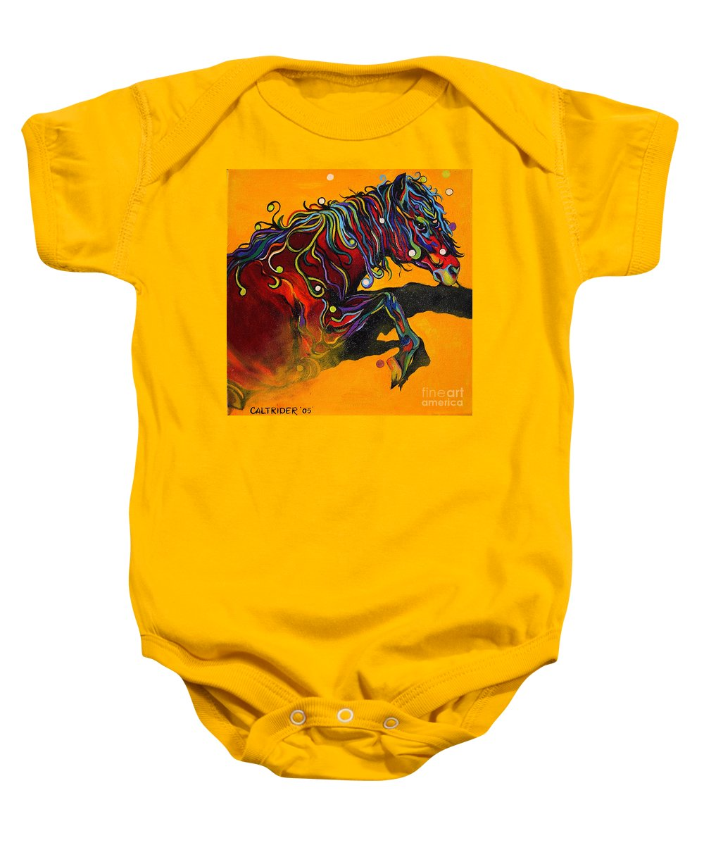 Horse Baby Onesie featuring the painting Prelude To A Dance by Alison Caltrider