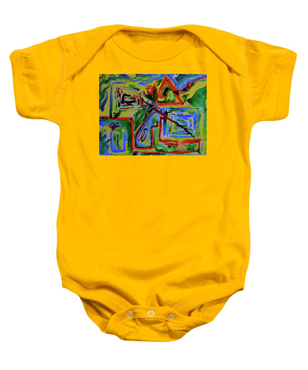 Primary Baby Onesie featuring the painting Primary Study I The Map by Beverley Harper Tinsley