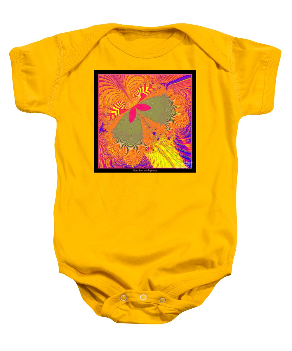 Psychedelic Baby Onesie featuring the digital art Psychedelic Butterfly Explosion Fractal 61 by Rose Santuci-Sofranko