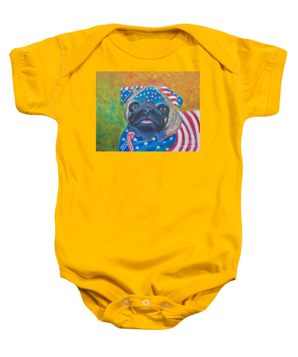 Dog Baby Onesie featuring the painting Pug - Patriotic Dog by To-Tam Gerwe