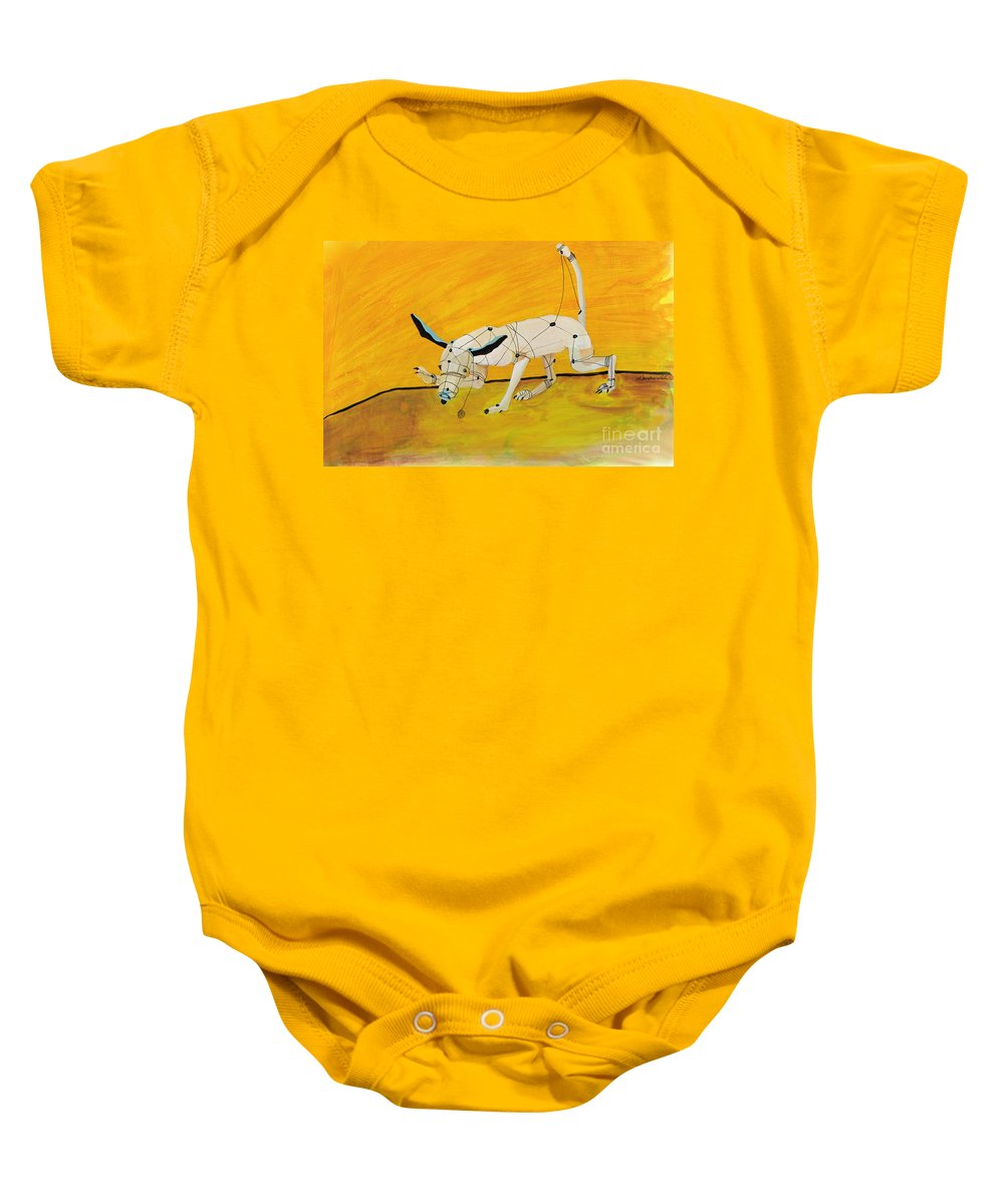 Mechanical Dog Baby Onesie featuring the painting Pulling My Own Strings by Pat Saunders-White