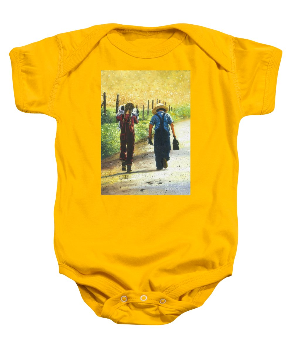 Country Kids Baby Onesie featuring the painting Puppy Love by Vickie Wade