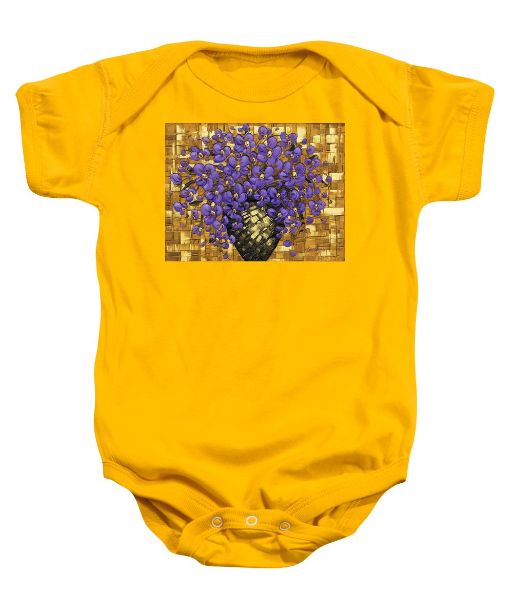 Baby Onesie featuring the painting Purple In The Warm Glow by Susanna Shap