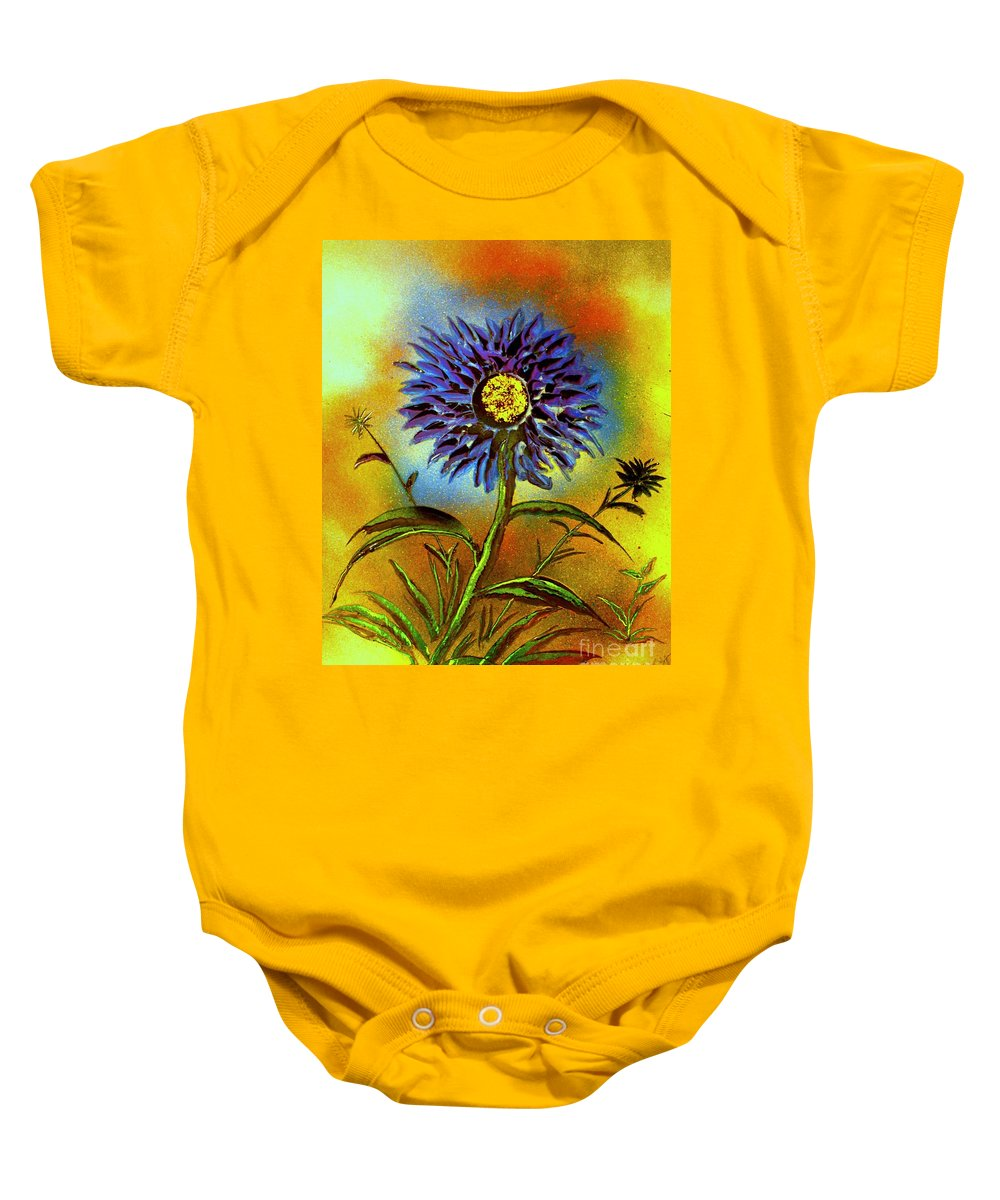 Painting Baby Onesie featuring the painting Purple Petals by Greg Moores