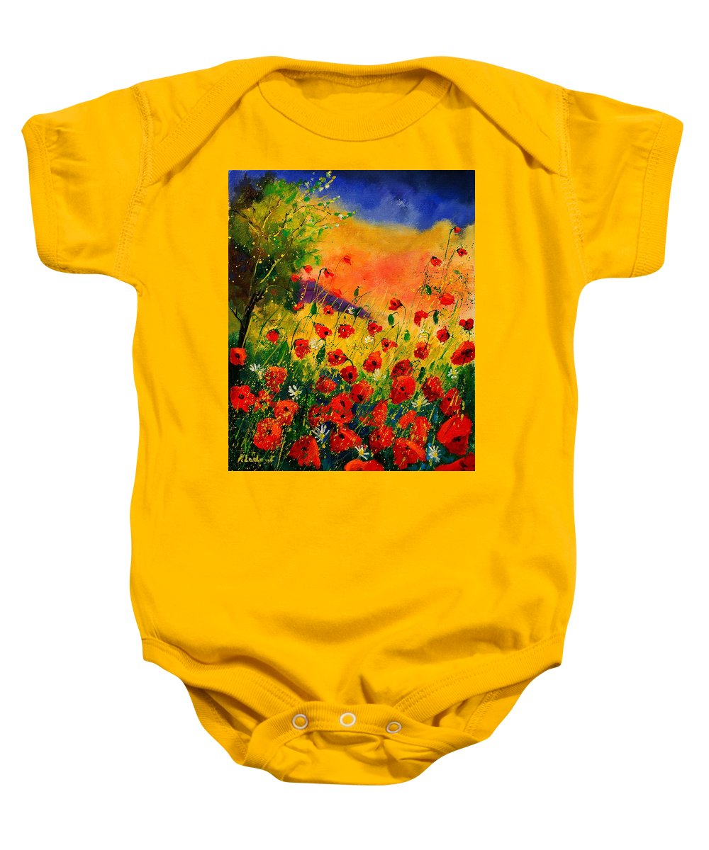 Poppies Baby Onesie featuring the painting Red Poppies 45 by Pol Ledent