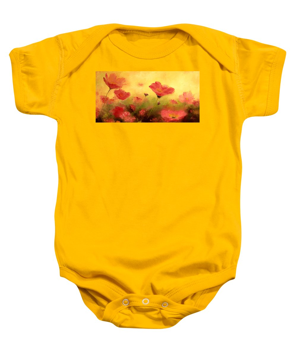 Poppies Baby Onesie featuring the painting Red Poppies by Jan Matson