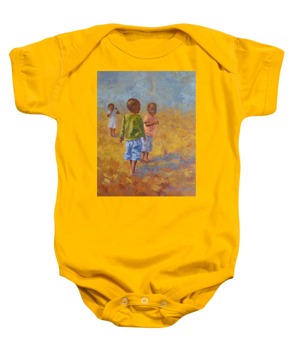 Figures Baby Onesie featuring the painting Red Push Toy by Yvonne Ankerman