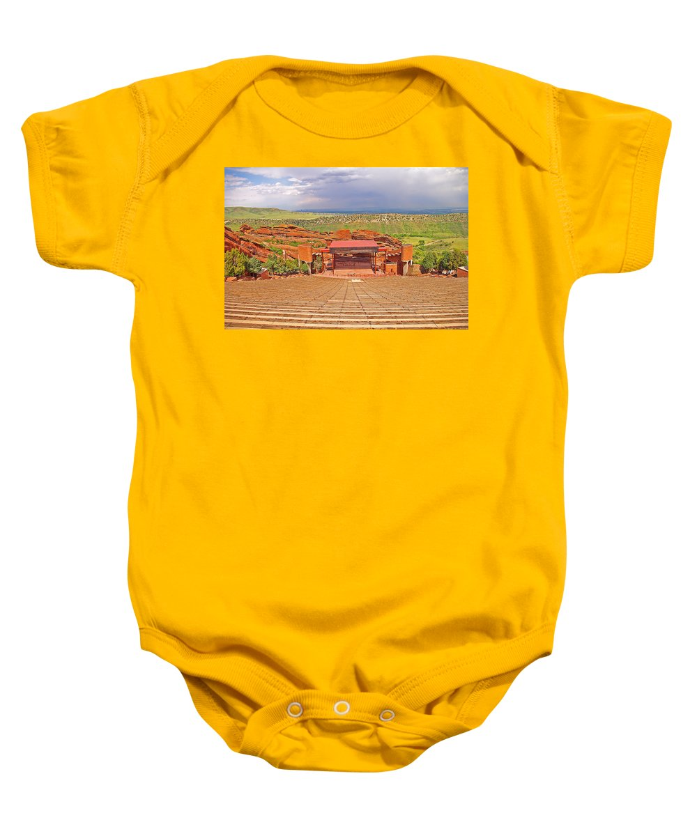 Colorado Baby Onesie featuring the photograph Red Rocks Park Amphitheater - Centered View by Rich Walter
